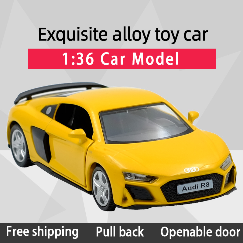 RMZ CITY 1:36 R8 Coupe Super Sports Car Alloy Diecast Car Model Toy With Pull Back For Children Gifts Toy Collection