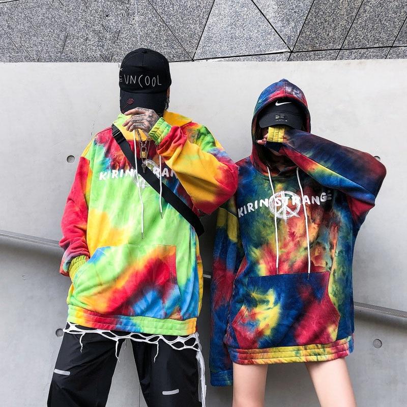 Cooo Coll 19SS Tie dyeing Hoodie Men Women Autumn Terry Hip Hop Season6 High Street Sweatshirt Harajuku Kanye West Tops Hoodie in Hoodies amp Sweatshirts from Men 39 s Clothing