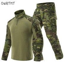 Uniformes táticos dos homens rip-stop camuflagem conjuntos de roupas militares g3 terno do exército airsoft paintball multicam carga calça combate camisa
