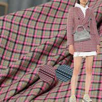 Клетчатая пряжа окрашенная камвольная шерстяная ткань шерсть полиэстер текстильные материалы Осенняя Женская куртка швейная ткань беспла...