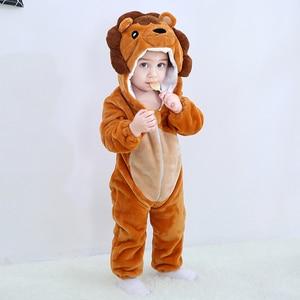 Image 2 - Детская Пижама комбинезон Kigurumis с животными, мягкая Пижама с изображением Льва, забавная одежда для сна для новорожденных, детский комбинезон, костюм для младенцев