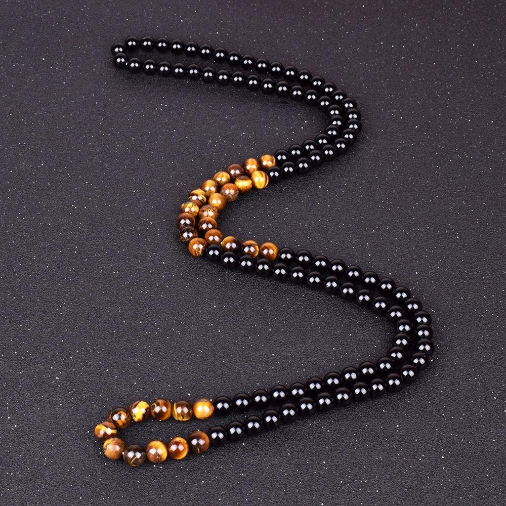 Black Onyxs Meditation Necklaces Natural Tiger Eye Stone Obsidian Necklaces
