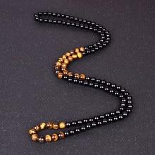 Collares de meditación para hombres y mujeres, joyería hecha a mano de piedra de ojo de tigre Natural, obsidiana, negra, Onyxs