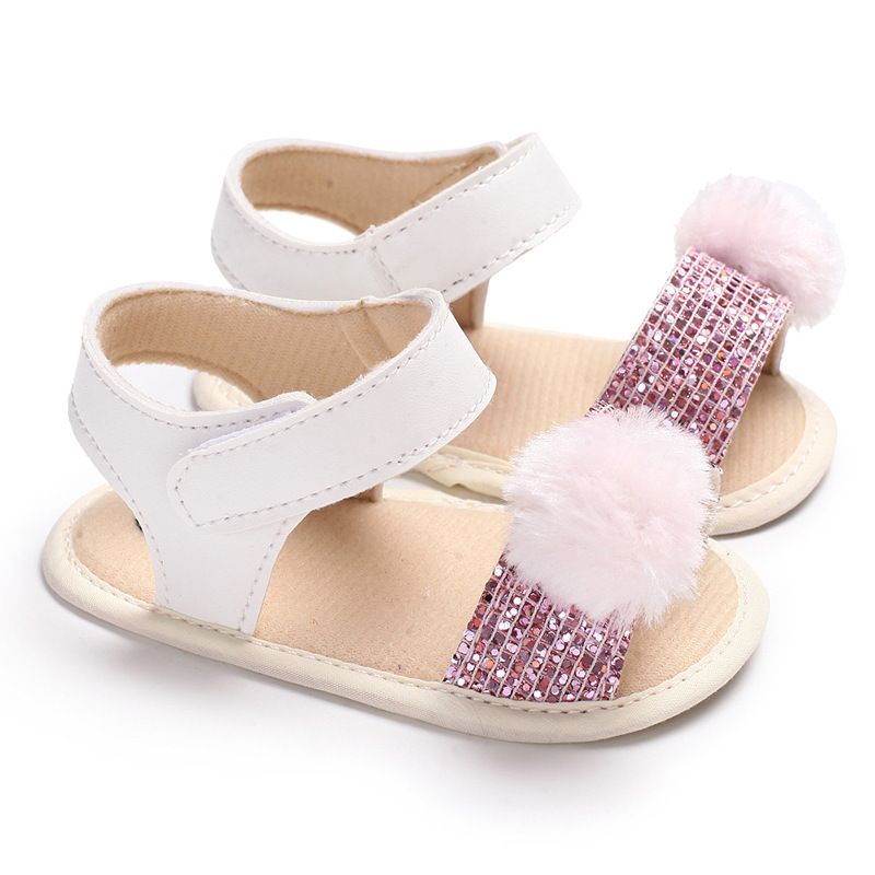 New Baby Girl Sandals Newborn Infant Toddler Pink Sequin Fluff Ball Soft-soled Sandals First Walkers Summer Crib Shoes