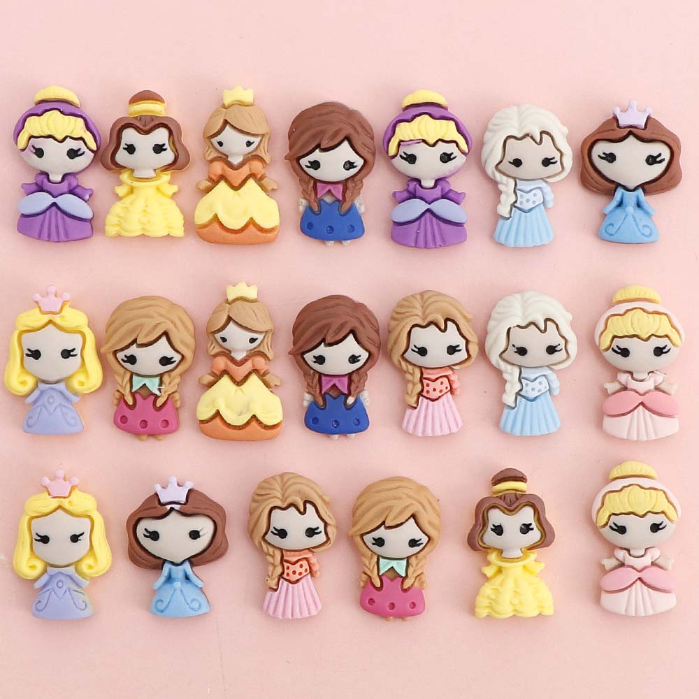 10Pcs Resin Flatback Cartoon Princess Embellishments For Scrapbooking Accessories Home Decration