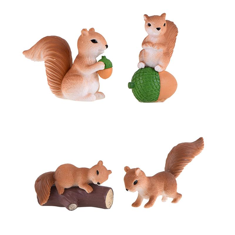 4pcs Cute Squirrel Desktop Ornament Cartoon Animal Figure Statues Sculptures Micro Landscape Decoration Crafts Gifts
