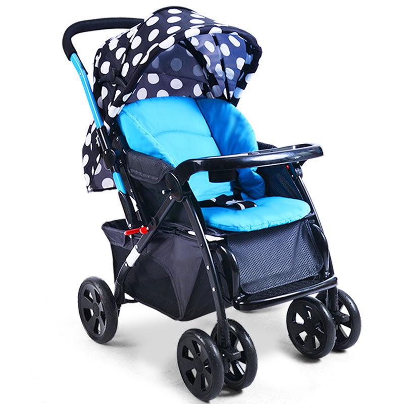 Baby Stroller Four Rounds Can Sit And Lie Widening And Heightening Adjustable Foldable Multiple Choices Mom's Favorite