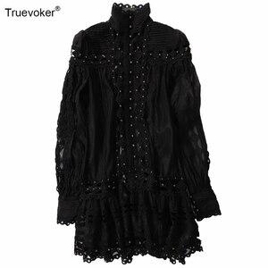 Image 2 - Truevoker robe Europe, style style station, Sexy, manches longues, broderie ajourée, avec rivets, tenue de soirée, boîte de nuit