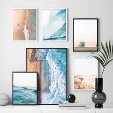 Морской океан волны пляж Холст Картина постер с изображением