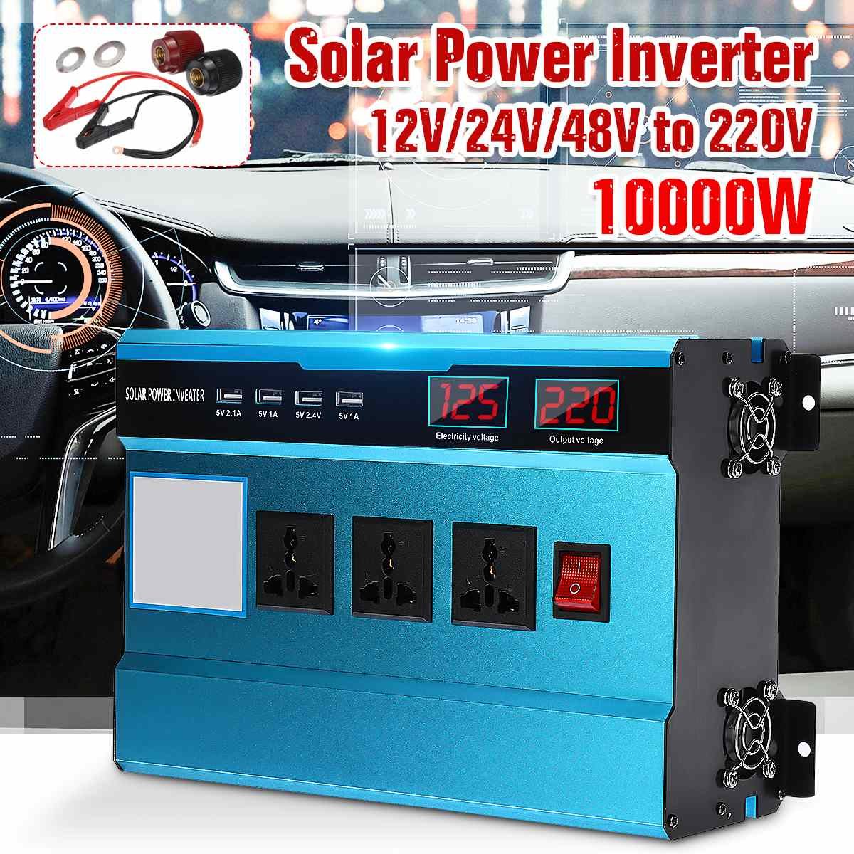Car Solar Power Inverter 12V 24V 220V 10000W P Eak Power Sine Wave Inverter With Fan 3 Charger Voltage Transformer Converter