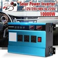 Car Solar Power Inverter 12V 24V 220V 10000W P eak Power Sine Wave Inverter with Fan 3 Charger Voltage Transformer Converter