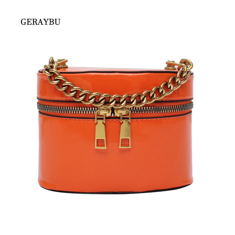 Women Shoulder Bag Bucket Fashion Female Crossbody Bag PU Leather Youth Waterproof Bag Personality High Quality Orange Bag