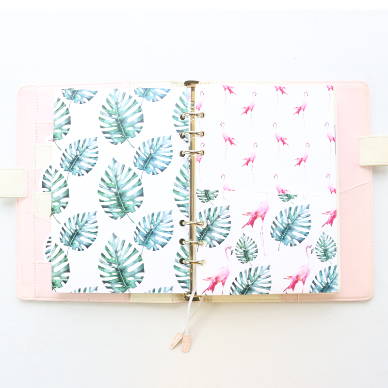 Domikee Original Flamingo Pattern Handmade Office School 6 Rings Binder Planner Inner Pocket Paper Pouch Accessories Stationery