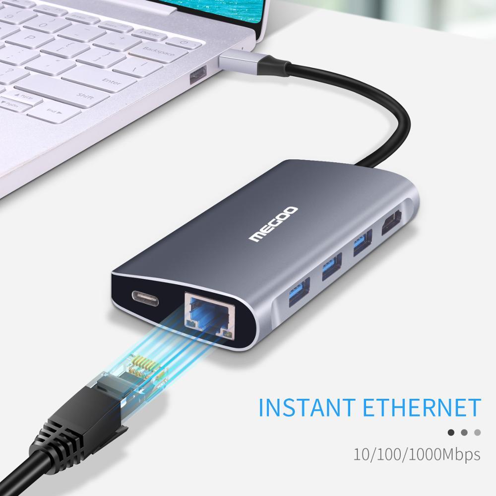 Megoo 8 en 1 USB C Station d'accueil pour ordinateur portable Type C vers VGA/HDMI/Ethernet/USB3.0/PD Station d'accueil de Charge pour Surface Go/Mac Pro - 5