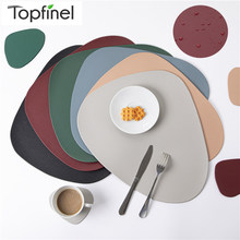 Topfinel PU Placemat Table Mats Leather Tableware Oil-Proof in Kitchen Washable Green Wine Cup Coaster