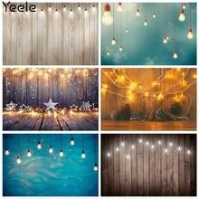 Yeele Photocall Wood Plank Birthday Backdrop Lights Christmas Baby Shower Photography Photographic Backgrounds For Photo Studio