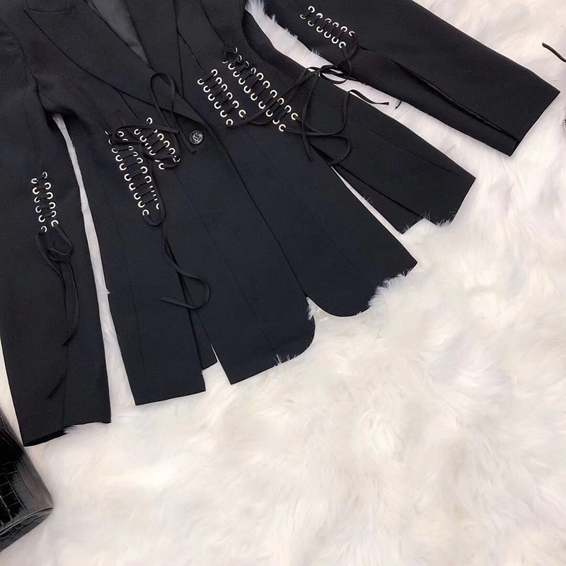 SHTONGHUAWomen's Suit Solid V Neck Long Sleeves cross bandage Blazer Tops High Waist Wide-legged pants Two Piece Set Female 2019 24