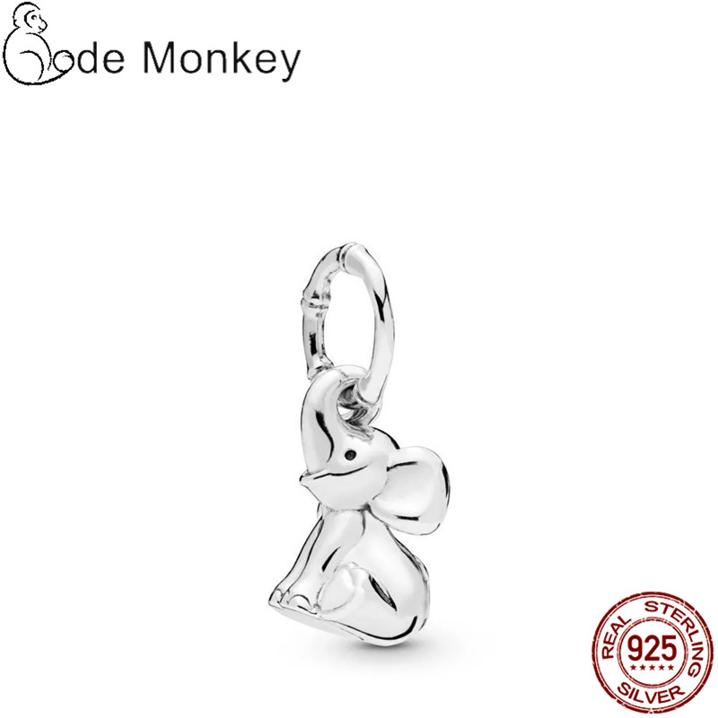 Qikaola Classic Cute Elephant Charms Beads Fit Original 3mm Bracelet Real 925 Sterling Silver Pendant DIY Jewelry CMS1547
