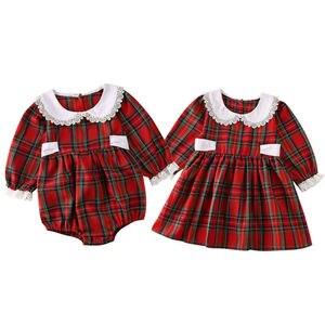 Рождественское платье для маленьких девочек, комбинезон, Рождественский комбинезон, платье в клетку с длинными рукавами, кружевная одежда, ...