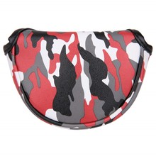 Golf Headcover Mallet Putter Magnetic-Closure Synthetic-Leather Small Red with Camouflage-Print