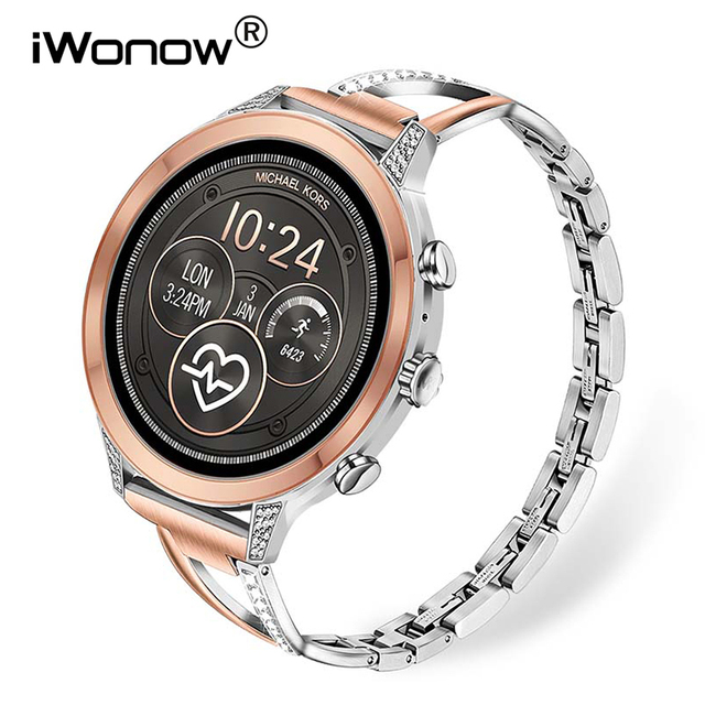 Diamond & Stainless Steel Watchband for Michael Kors Womens Access Runway / Sofie / Sofie HR Smart Watch Band Wrist Strap Belt