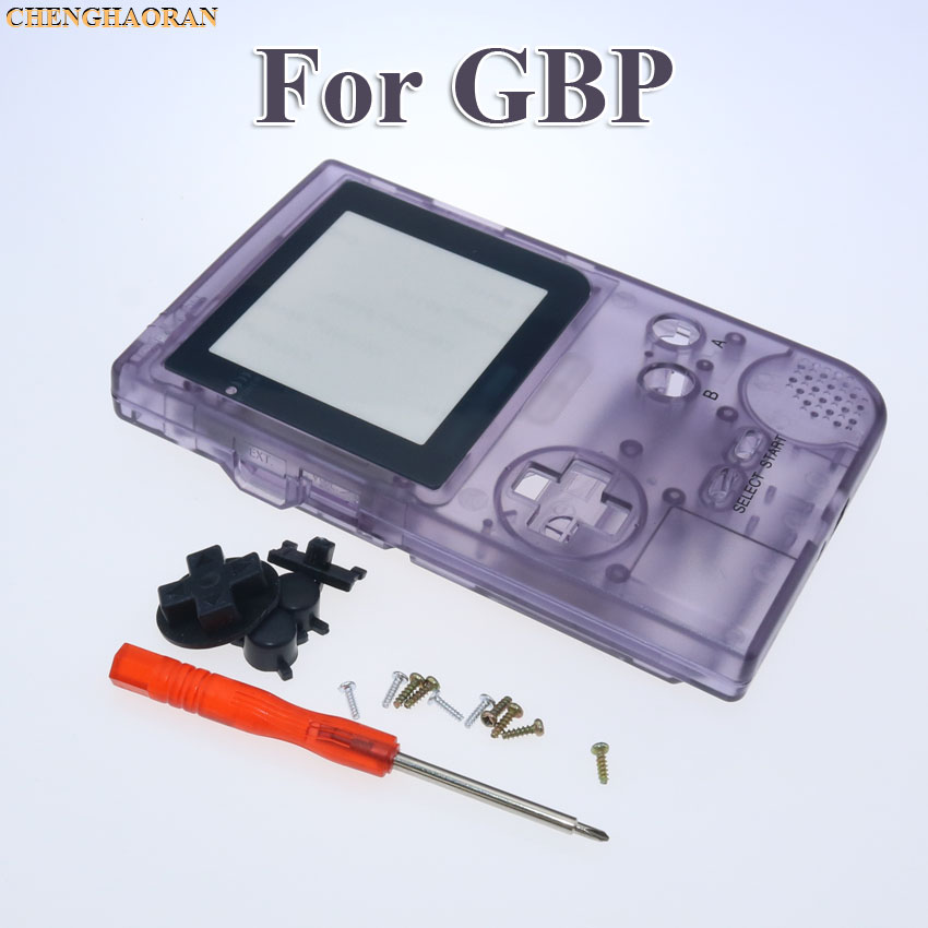 Clear Purple Dark Full Housing Shell case cover For Gameboy Pocket Game Console Screwdriver Rubber Silver lens White Buttons Kit