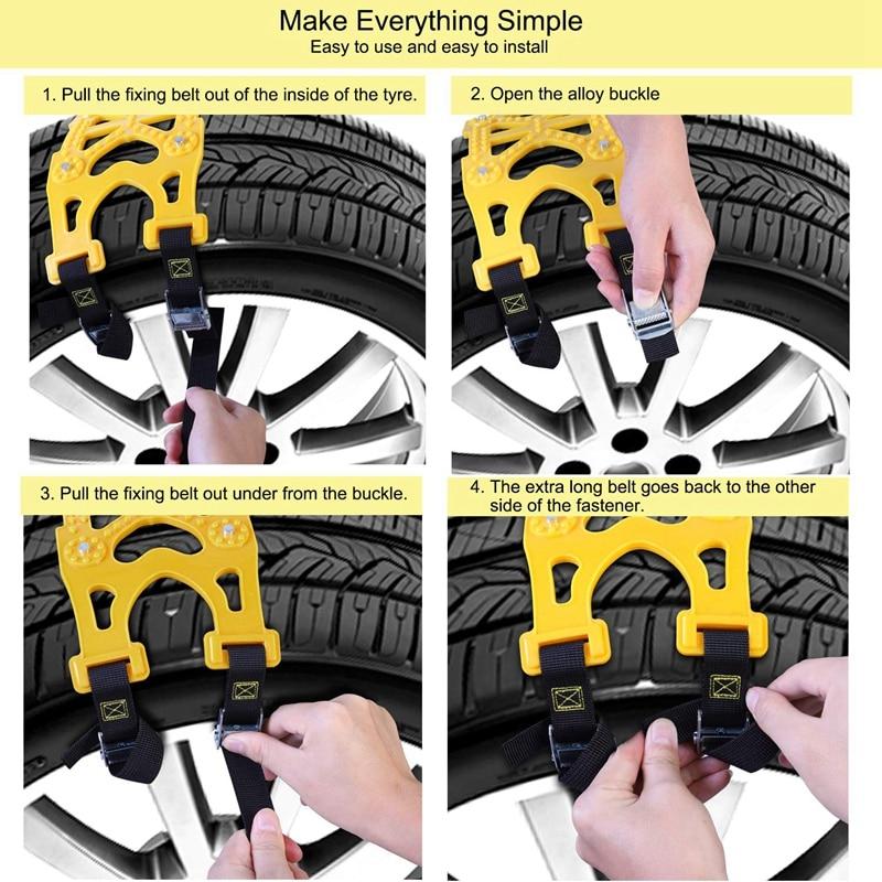 Cadenas antideslizantes para nieve para coches cadenas antideslizantes para neumáticos de nieve para la mayoría de coches/SUV/camiones, cadenas de seguridad universales de invierno Anchura de neumáticos de 165mm - 6