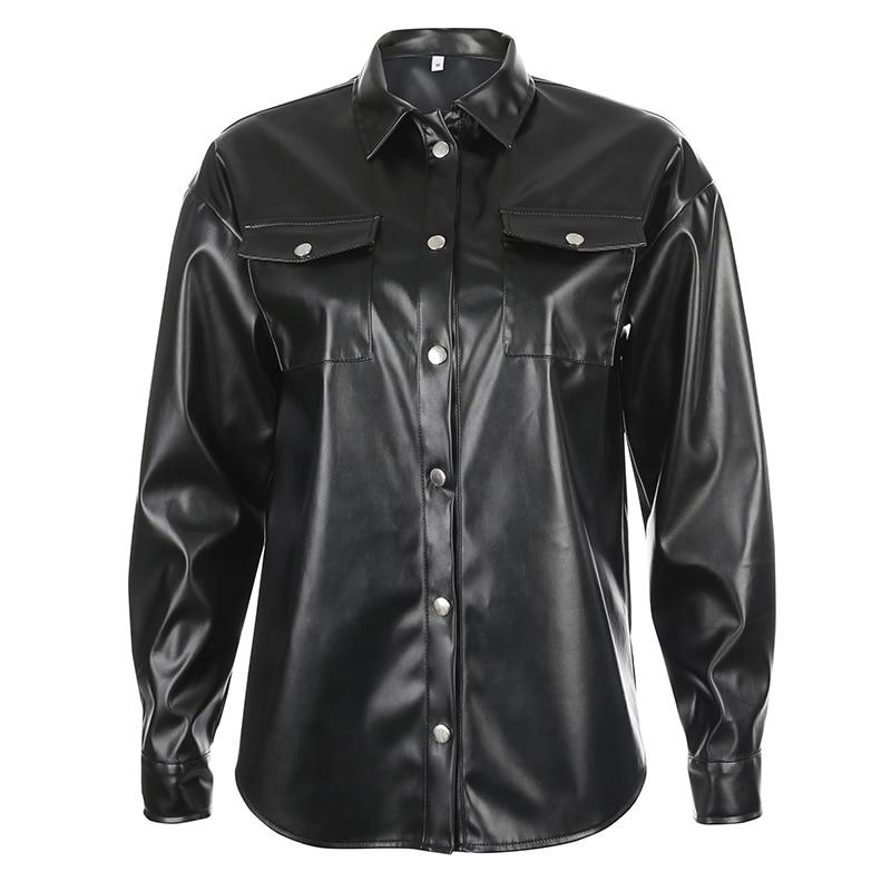 Image 5 - Darlingaga Streetwear Black PU Leather Blouse Women Cardigan Buttons Fashion Womens Shirt Top Long Sleeve Solid Leather BlousesBlouses & Shirts   -
