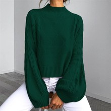 Winter for Sweater Women Fashion Female Lantern sleeve Knit Solid Pullover Long Sleeve O-Neck Sweater Autumn Clothes lantern sleeve plain pullover sweater