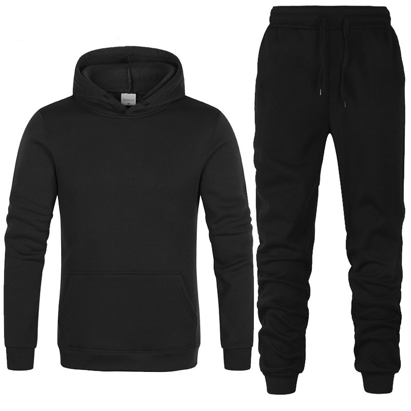 Hoodies Men Solid Color Sweatshirt Hoodies Hip Hop Harajuku Casual Fashion Sportswear Fleece Warm Mens Hoodies Pants Suit 2Pcs