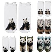 Nova moda 3d impresso panda animal meias feminino criança panda gigante engraçado algodão curto tornozelo meias feliz kawaii unisex bonito meias