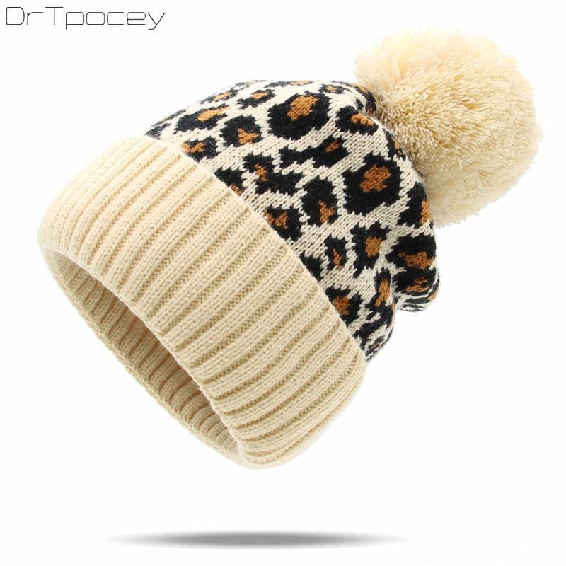 New Leopard Winter Women's Knitted Hats Fashion Warm pompom Hat Ladies   Skullies     Beanie   Female Outdoor Caps gorro bonnet autumn