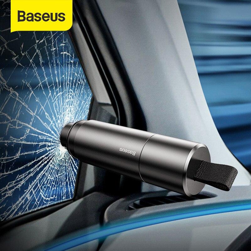 Baseus Mini rompecristales de ventana de coche cuchilo de cinturón de seguridad del martillo de la seguridad de la vida-el martillo de Escape cuchillo de corte Interior Accesorios