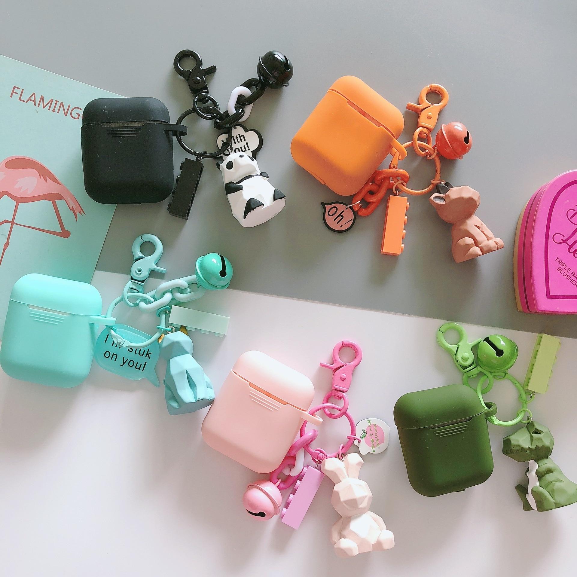 Cute Silicone dinosaur Panda Rabbit Keychain Pendant Headphone Cases For Apple Airpods 1 2 Earphone Cover Capa