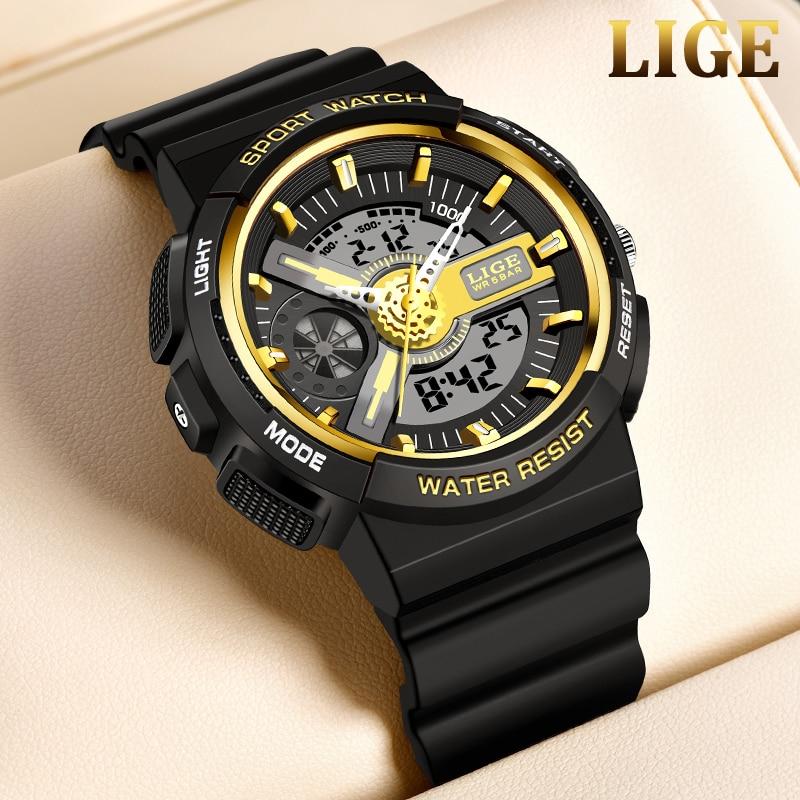 LIGE Luminous Men Sport Watch Momen High-end Silicone Strap  Wrist Watches LED Calendar Waterproof Ladies Digital Watch Men+Box