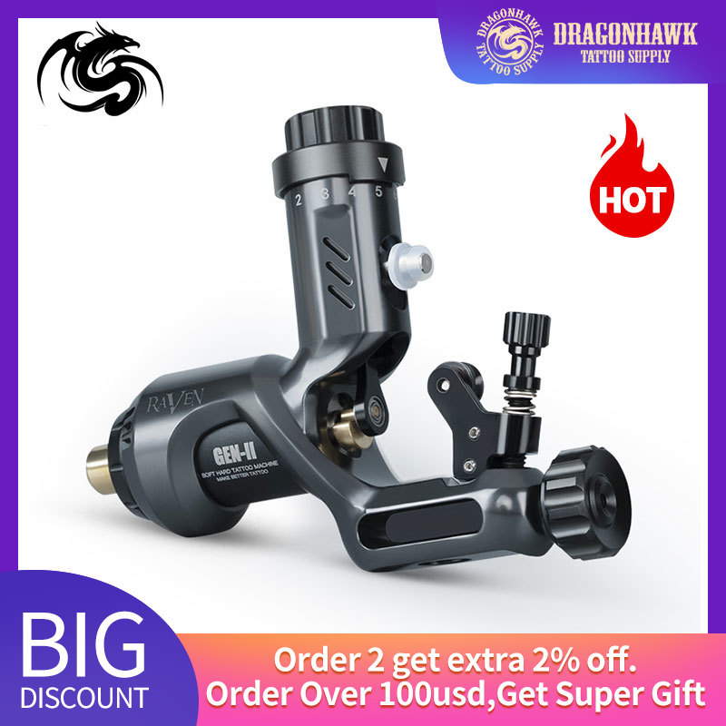 Dragonhawk Rotary Tattoo Machine Raven II with Alloy Grip Set Powerful Motor Tattoo Machine Tattooist Body Art