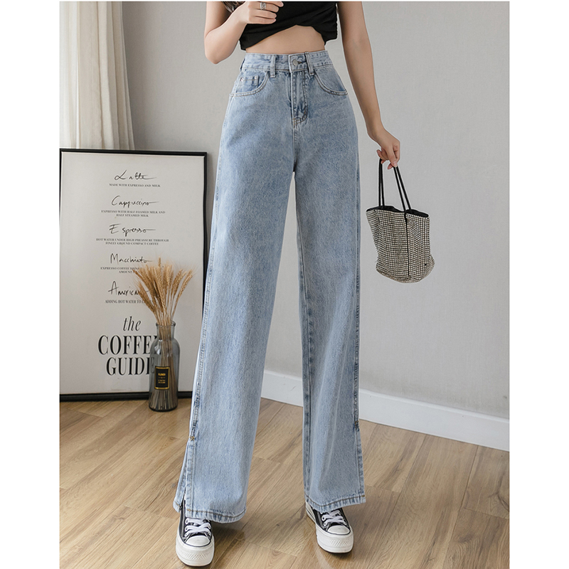 High Waist Split Hem Wide Leg Straight Loose Jeans For Women S M L XL