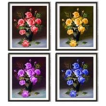 5D diamante pintura rosa flor florero redondo diamante mosaico decoración del hogar patrón DIY hecho a mano regalo de año nuevo