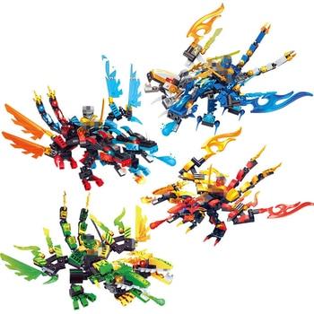 Ninja Dragon Knight 2heads Thunder Swordsman Model Building Blocks KAI JAY ZANE Figures Toys Bricks gift for children boy