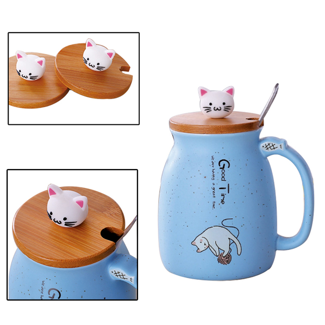 Cute Cat Mug With Spoon  5