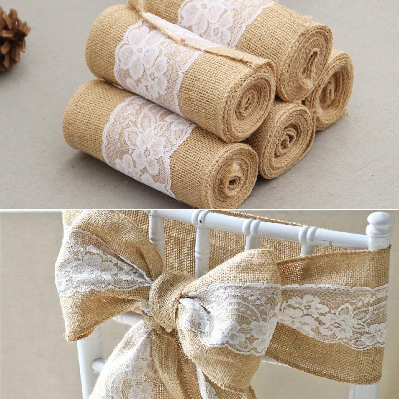 HobbyLane 15*240 CM Vintage Jute Burlaps With White Lace Roll Craft Ribbon For Wedding Decoration In Table Runner Chair Sashes