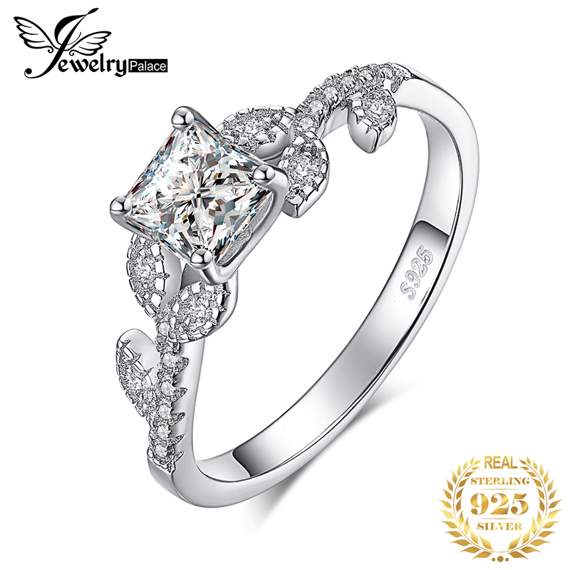 JewelryPalace 1.1ct Princess Cut Cubic Zirconia Solitaire Engagement Ring 925 Sterling Silver Filigree Leaf Shank Gift For Women