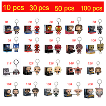 POP 10pcs/lot 50pcs/lot 100pcs/lot Captain America Black Panther Harley Quinn ELVIRA   Action Figures Keychain Toys with box