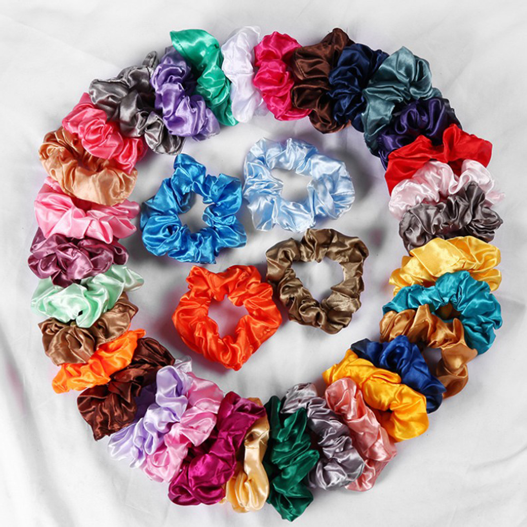 Wholesale 100pcs Satin Silky Scrunchies Elastic Hairband Girls Bobble Hair Ties