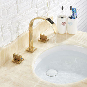 Image 4 - Golden Badkamer Wastafel Kraan Warm En Koud Water Kraan Drie Gaten Twee Handvat Mixers Tap Deck Mount Wassen Bad Fauctes