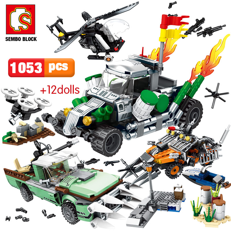 SEMBO 1053pcs City Police Series Technic Car Building Blocks Legoes Military Helicopter Black Hawk Troopers Bricks Toys For Boys