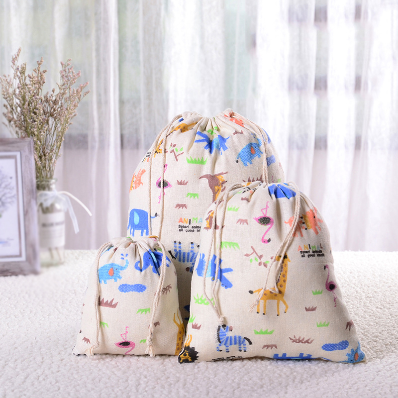 Casual Women Cotton Drawstring Shopping Bag Eco Reusable Folding Grocery Cloth Pouch Draw Pocket Case Travel Home Bags Owl Bear