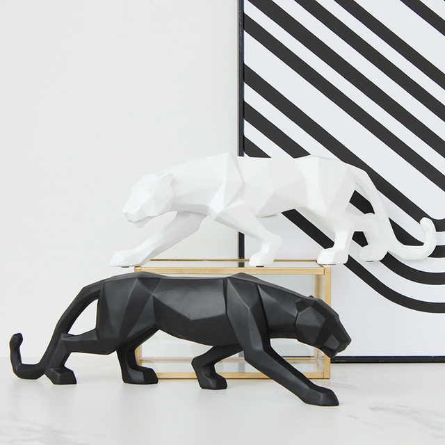 النمر الأسود تمثال ليوبارد النحت تمثال كبير الحيوان مجردة نمط هندسي الراتنج ديكور غرفة مكتب المنزل هدية اكسسوارات