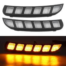 Lampen 1 Paar Dual Farbe LED DRL Tagfahrlicht Blinker Lampe Fit für Ford Explorer 16-18 auto-Styling autos(China)