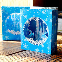 3D Greeting Cards Kids Invitation PostCard Birthday Handmade Carving Sky-Blue-Snow-Ice-Castle  Blessing Box Card